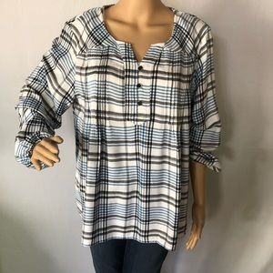 STYLE & CO Blue Long Sleeve Plaid Shirt Sz L